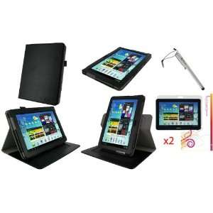 3n1 Dual Axis (Black) Leather Folio Case Cover / Anti Glare Screen