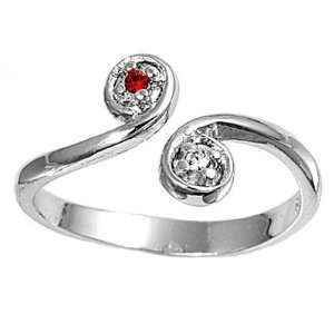 Silver Fashion Toe Ring  Swirls with Ruby and Clear CZ   2mm Band