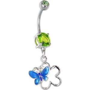 Green Gem Hollow Flower Butterfly Belly Ring Jewelry