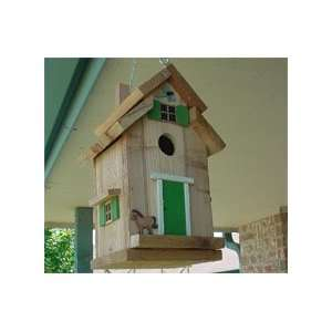 Bird House   Cedar with Green Trim Patio, Lawn & Garden