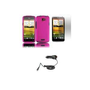 HTC One X (AT&T) Premium Combo Pack   Hot Pink Hard Shield Case Cover
