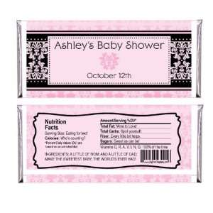 Damask Girl   Personalized Candy Bar Wrapper Baby Shower
