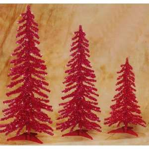 Pre Lit Red Alpine Tinsel Christmas Tree 3 Piece Set 2 3 4 #2704