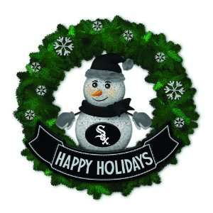 White Sox Lighted Snowman Artificial Christmas Wreath