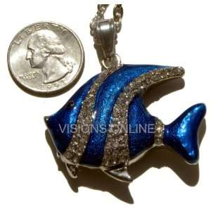 Visions Jewelry USB Flash Drive 4gb Pendant Blue Fish