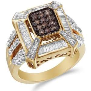 14K Yellow and White Two Tone Gold White and Chocolate Brown Diamond