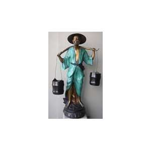 Outdoor Bronze Oriental Man holding Pails   Two Tone color