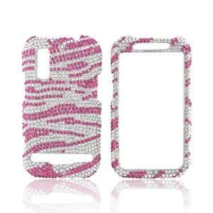 Pink Zebra on Silver Gems Bling Hard Plastic Case For