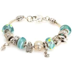 Good Luck Fashion Designer Bracelet with Murano Glass Beads Jewelry