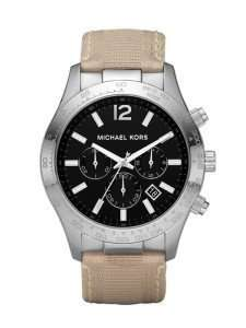 Nylon Khaki Strap Black Dial Mens Watch MK8187 Michael Kors Watches