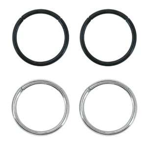 Silver and Black 316L Surgical Steel Segment Ring Sets   16G   5/16