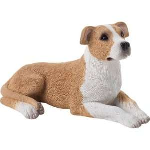 Small Size Fawn/White Pit Bull Terrier Sculpture