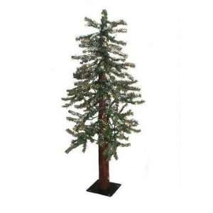 4 Pre Lit Snowy Flocked Alpine Artificial Christmas Tree
