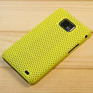 Yellow / Mesh Pattern Plastic Back Case for Samsung Galaxy SII S2 / SC