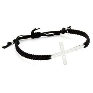 Large Swarovski Crystal Cross on Black Cotton Cord Bracelet Jewelry