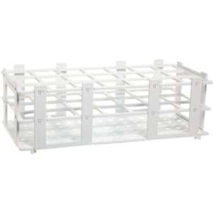 4340040 30mm 21 Tubes White Polypropylene Test Tube Rack, 3 x 7 Tube