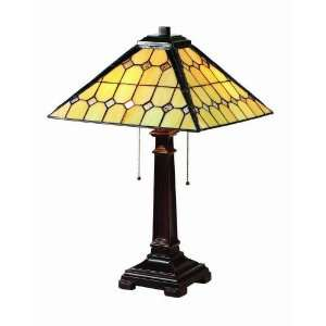 Table Lamp with Tiffany Glass Shade in Antique Bronze