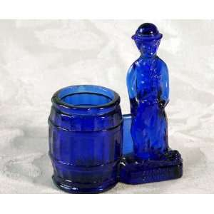 Chaplin Toothpick Holder Blue Cobalt Glass  Kitchen
