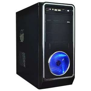 Tower Computer Case w/880W 20+4 pin PSU & 120mm Blue LED Fan (Black