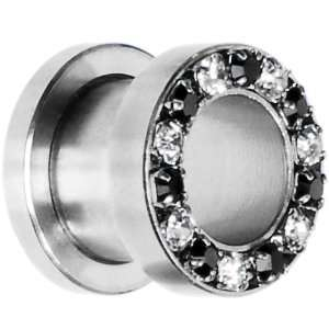 00 Gauge Stainless Steel Black Clear Gem Screw Fit Tunnel Jewelry
