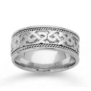 14k White Gold Grand Classic Hand Carved Wedding Band Jewelry