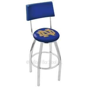 Fighting Irish ND Logo Chrome Swivel Bar Stool Base with Back Sports