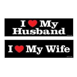 Two In Love 2 Pack I Love My Husband/I Love My Wife Car Decal Bumper