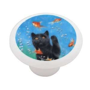 Cat and the Goldfish Bowl Decorative High Gloss Ceramic