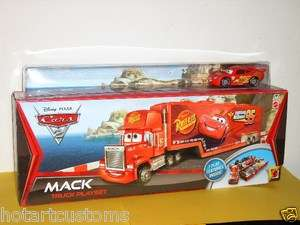 DISNEY PIXAR CARS 2 MACK TRUCK HAULER PLAYSET WITH LIGHTNING McQUEEN