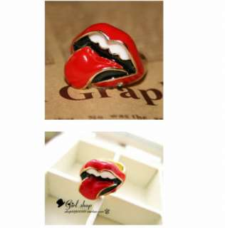 New Cute Strange Inspired Rhinestone Large Red Lip Cocktail Ring Free