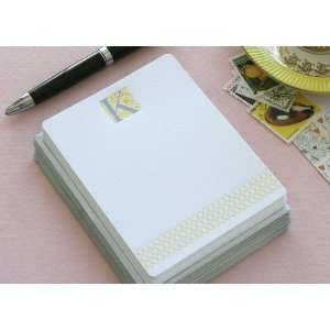 Letterpress Monogram Note Card Set K Health & Personal