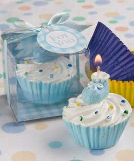 72   Blue Bootie Cupcake Candle Favors Baby Shower Favor
