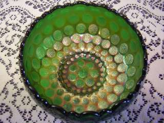 Antique Fenton Carnival Glass Green Coin Dot Rose Bowl