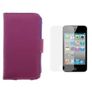 Purple Wallet Leather Case + LCD Screen Protector for Apple iPod Touch